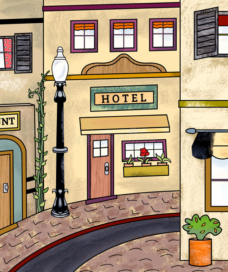 Vintage Main Street. Early 20th century main street scene: sidewalk, store fronts lamp post vector illustration