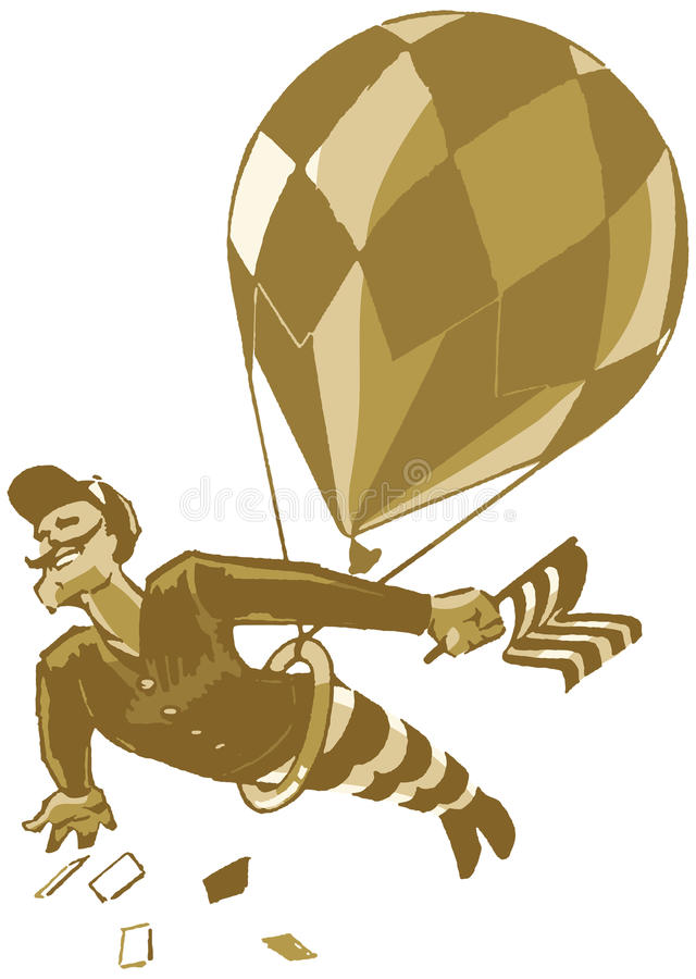 Download Vintage Male Acrobat With Balloon And Flag Stock Vector - Image: 30655704