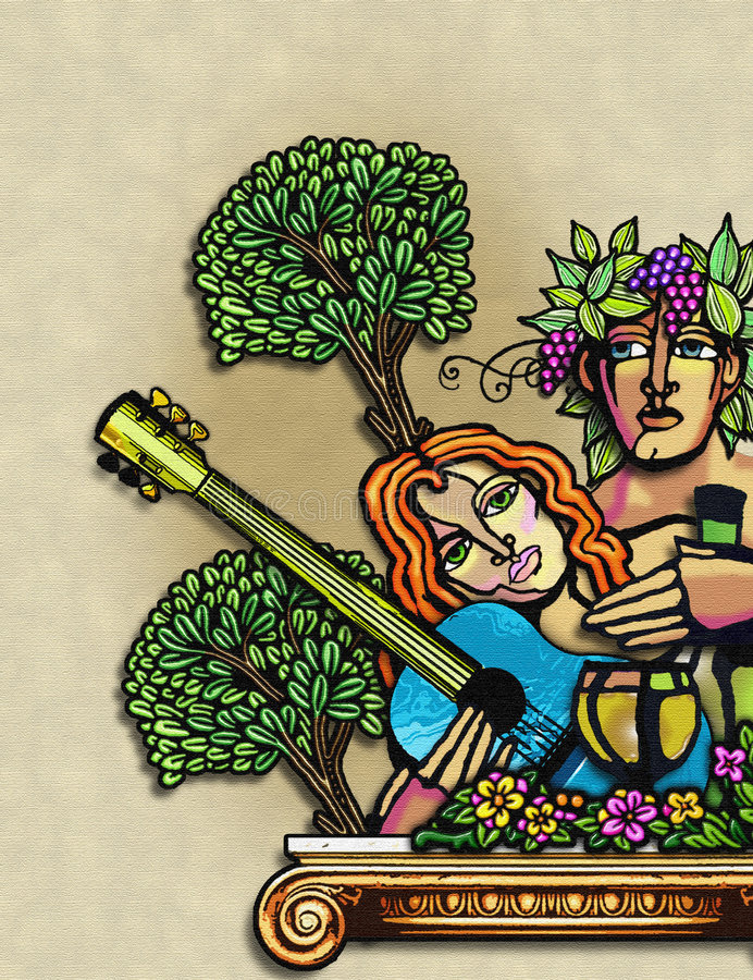 vintage Man and woman in paradise royalty free illustration