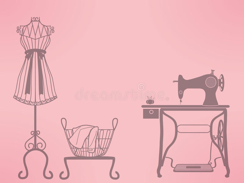 Vintage mannequin and sewing machine vector illustration