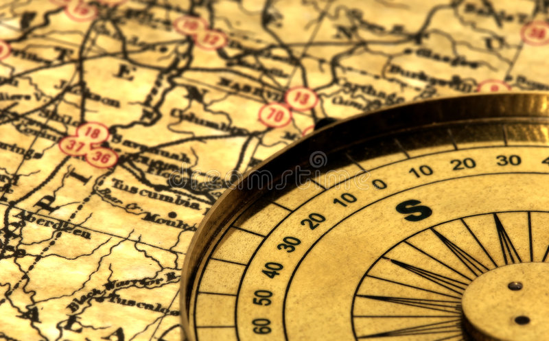Vintage Map. And Compass With Blur Effect stock photography