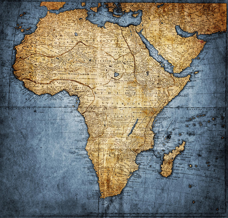 Free Vintage Map Africa Royalty Free Stock Images - 30299229
