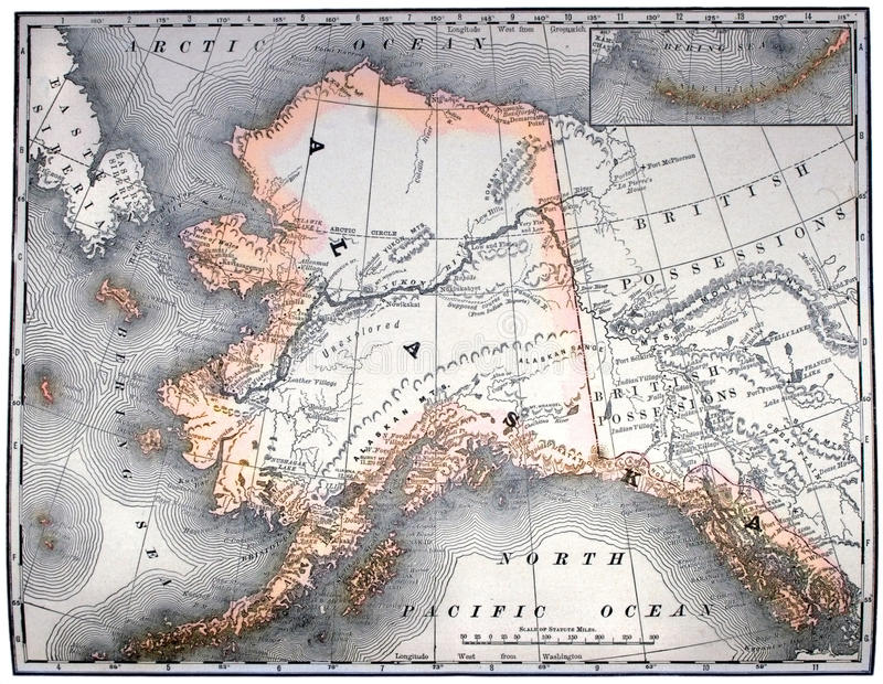 Vintage map of Alaska stock image