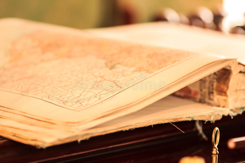 Vintage map book stock photography
