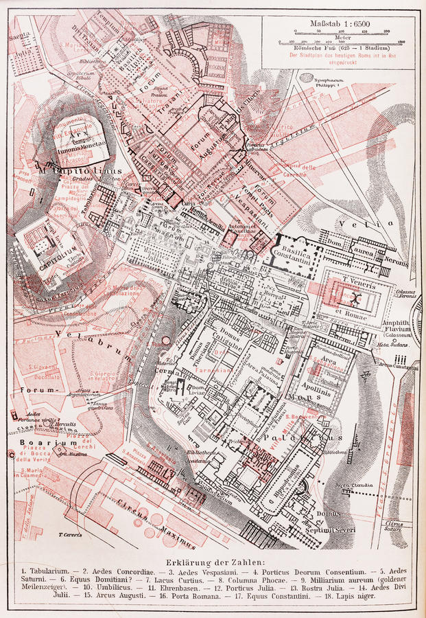 Download Vintage Map Of The Imperial Forums Of Rome Stock Image - Image: 23262785