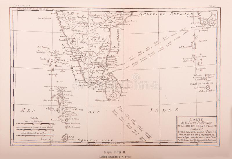 Vintage map of India printed in 1750. Old map of India, 1750 stock photos