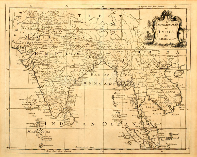 Vintage Map of India and SE Asia. royalty free stock images