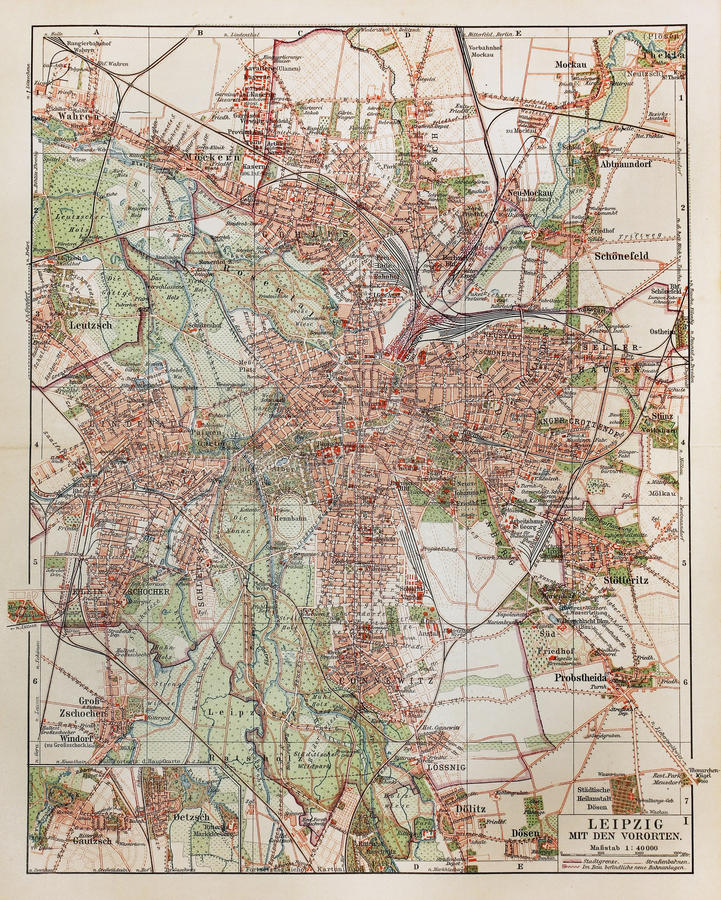 Vintage Map Of Leipzig Stock Image Image Of Land Drawing - Map of leipzig