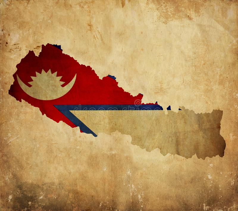 Vintage map of Nepal on grunge paper royalty free stock images