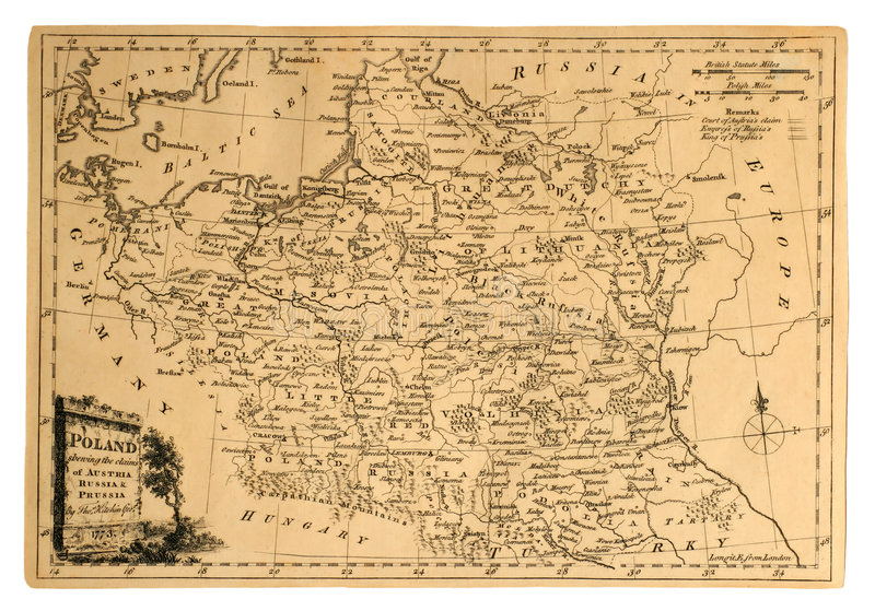 Vintage Map of Poland. royalty free stock images