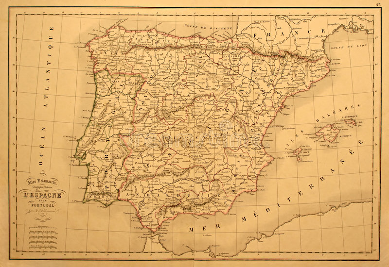 Vintage Map of Spain and Portugal. This original line-colored map of Spain and Portugal was printed in 1850 stock illustration