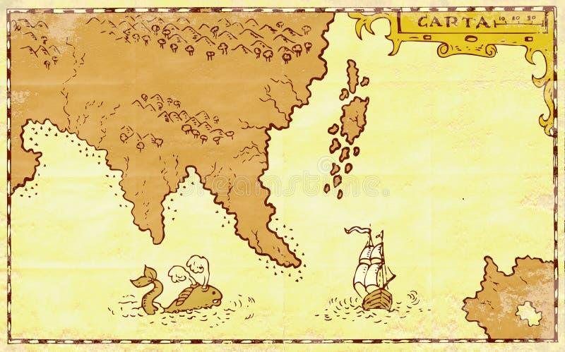 Download Vintage Map Treasure Island Tall Ship Whale Stock Illustration - Illustration: 25163489