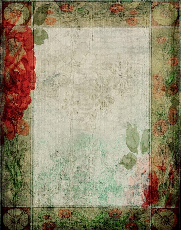 Vintage - marco floral del fondo del libro de recuerdos del jardín ilustración del vector