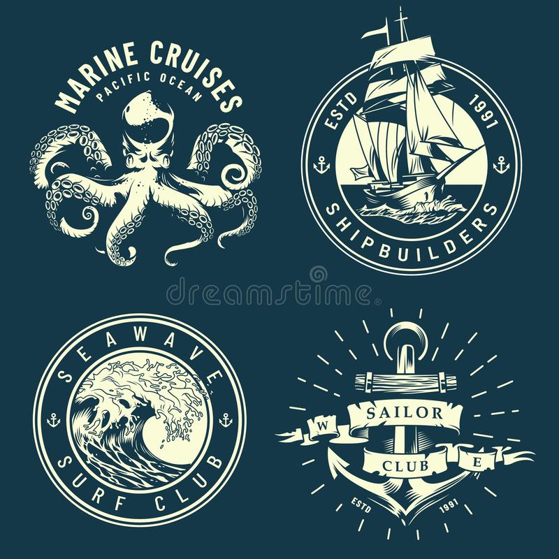 Vintage marine and nautical logos. With octopus sea wave anchor ship in monochrome style isolated vector illustration royalty free illustration