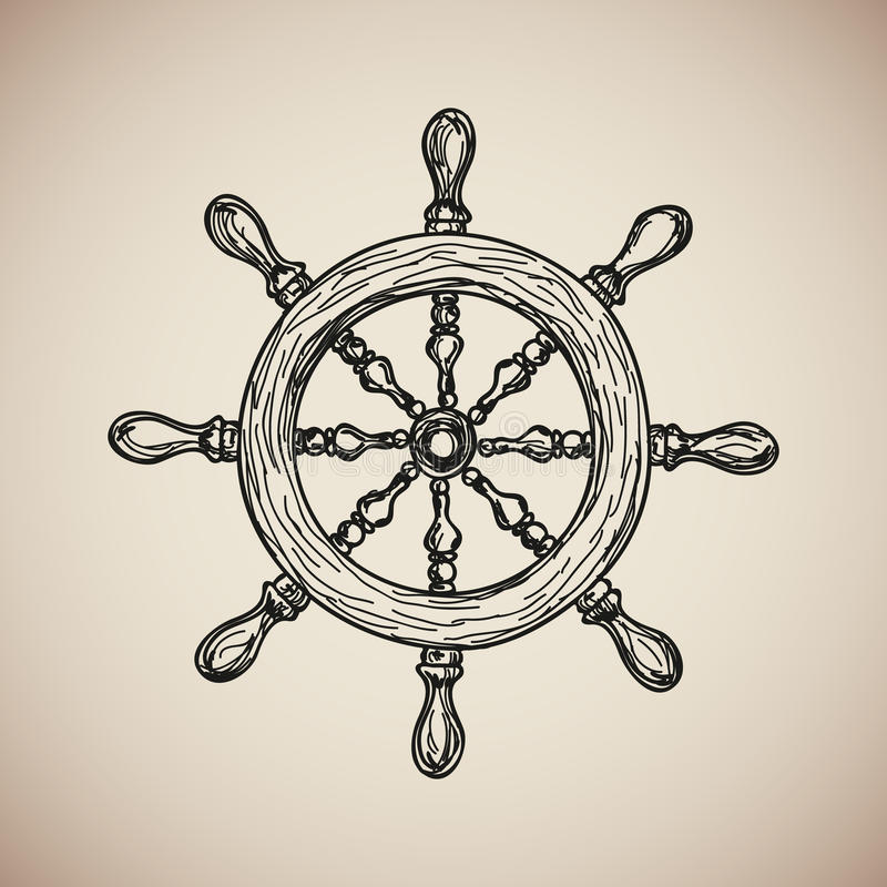 Vintage Marine Steering Wheel engrave. Vector royalty free illustration