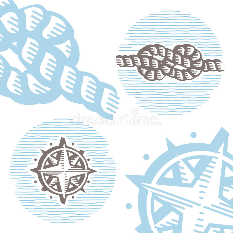 Vintage marine symbols vector icon set: engraving knot and wind. Rose. Collection of retro style sea signs royalty free illustration