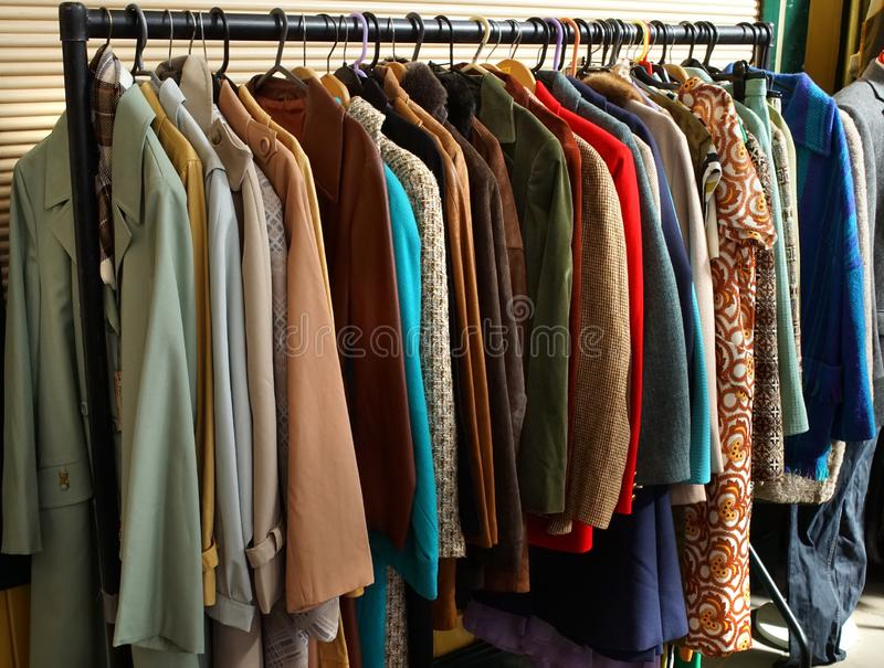 Vintage Fair Stall Display Coats stock images