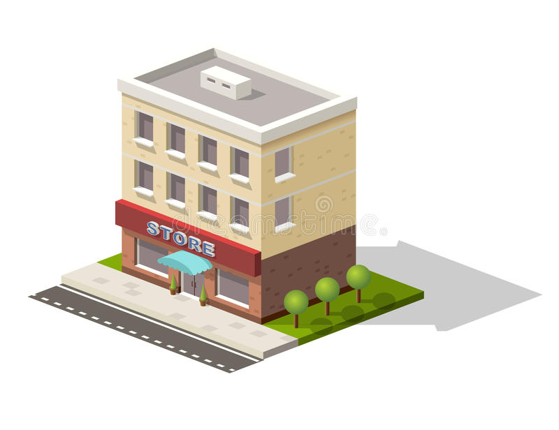 Vintage market store street view with modern supermarket shopping mall isometric icons set abstract isolated vector royalty free illustration