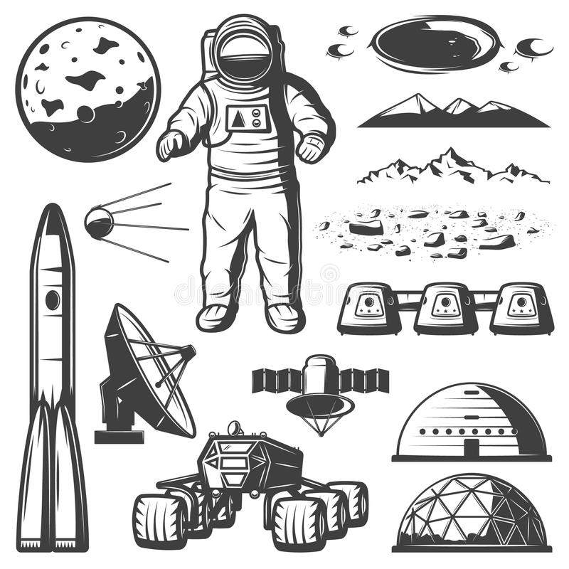 Vintage Mars Space Elements Collection vector illustration