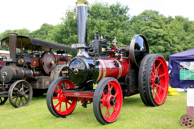 Vintage 1906 Marshall agricultural tractor. ELVASTON, DERBYSHIRE, UK. JULY 04, 2015. Vintage 1906 Marshall agricultural steam tractor named 'Pearl' on display stock photos