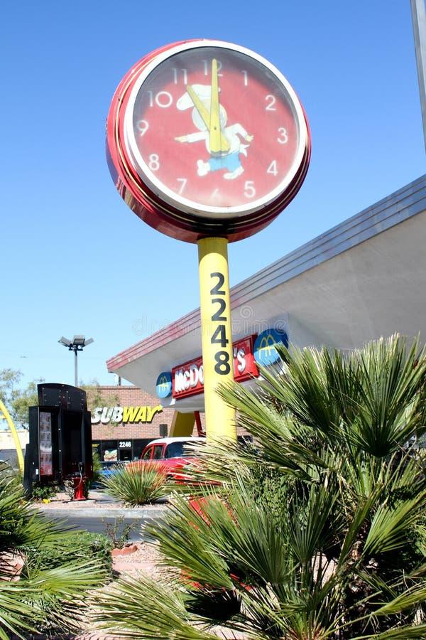Vintage McDonalds Clock at Las Vegas, NV Restaurant stock images