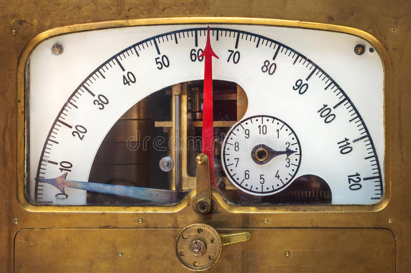 Download Vintage Measurement Instrument With A Red Needle Indicator Royalty Free Stock Image - Image: 32024486