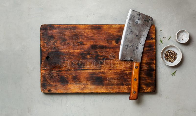 Vintage Meat Knife Over Marble Table Stock Photo Image