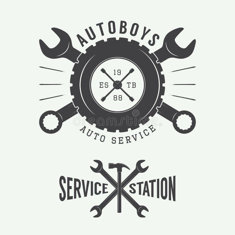 Vintage mechanic label, emblem and logo. Vector illustration royalty free illustration