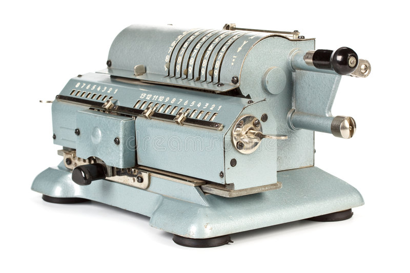 Vintage mechanical calculator stock images