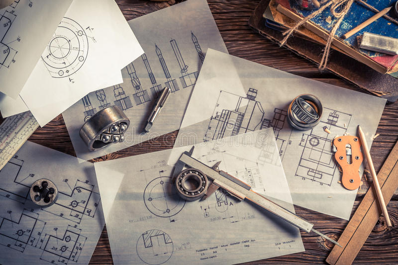 Vintage mechanical engineer desk royalty free stock photography