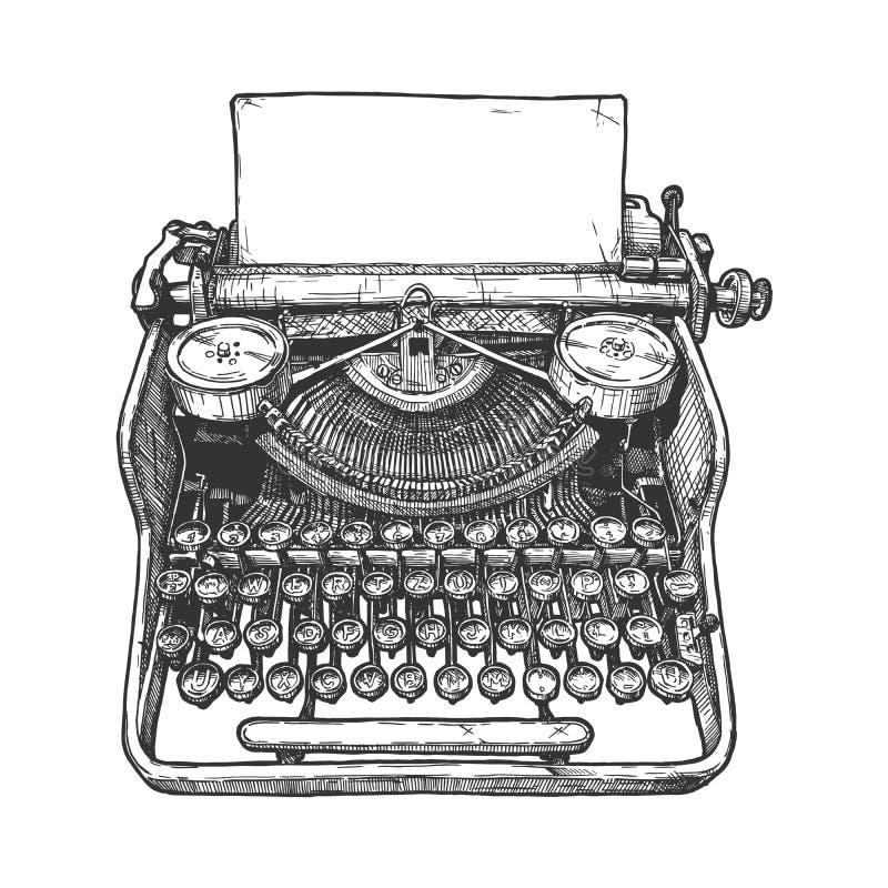 Vintage mechanical typewriter. Vector hand drawn illustration of retro typewriter in vintage engraved style. Isolated on white background royalty free illustration