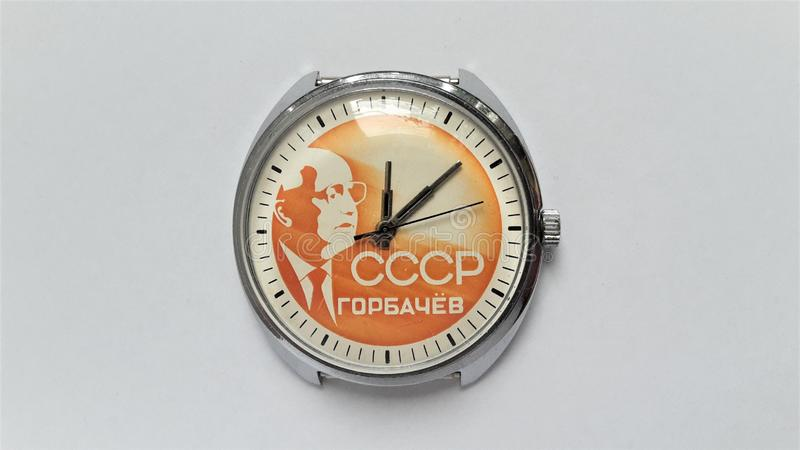 Vintage mechanical wrist watch CCCP. Men`s watch. Hours of the reign of Mikhail Gorbachev. Watch mechanical hand-winding. The body is chrome-plated stock photos
