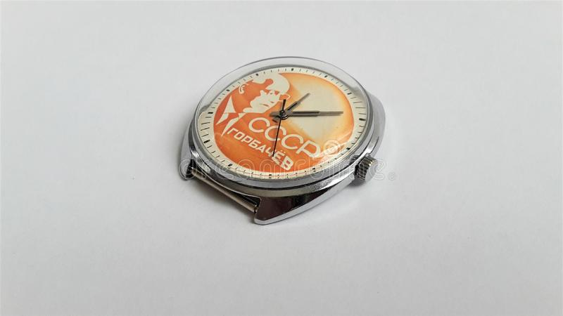 Vintage mechanical wrist watch CCCP. Men`s watch. Hours of the reign of Mikhail Gorbachev. Watch mechanical hand-winding. The body is chrome-plated royalty free stock photography