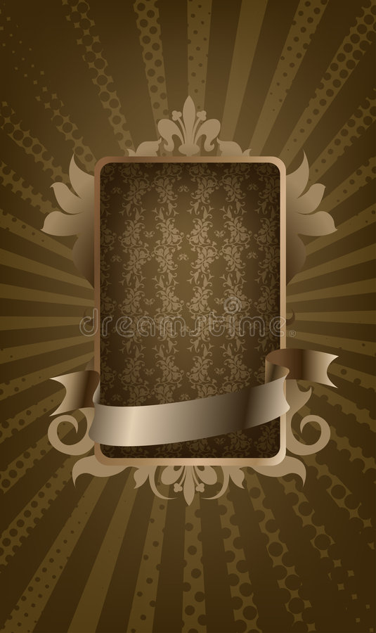 Vintage medallion with ribbon vector illustration