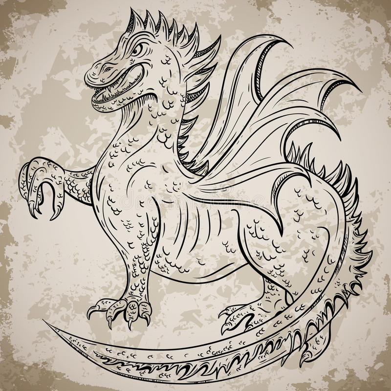 Vintage medieval dragon retro highly detailed hand drawn for Medieval dragon tattoo