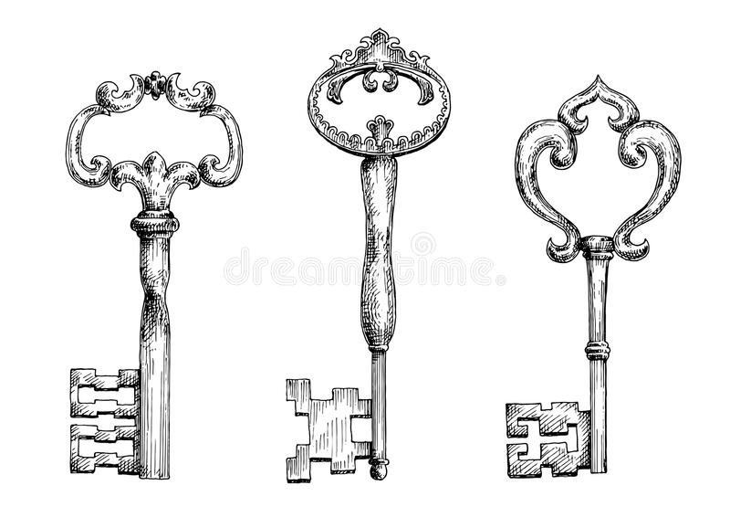 Vintage medieval skeleton keys sketches royalty free illustration