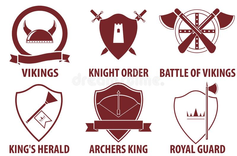 Vintage medieval warrior emblems isolated on white background. Viking, knight, king medieval labels. royalty free illustration