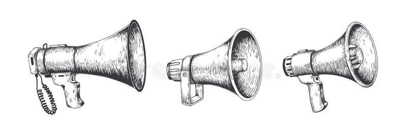 Vintage megaphone. Hand drawn loud speaker for announcements, bullhorn sketch news or public attention. Vector message. Vintage megaphone. Hand drawn loud royalty free illustration