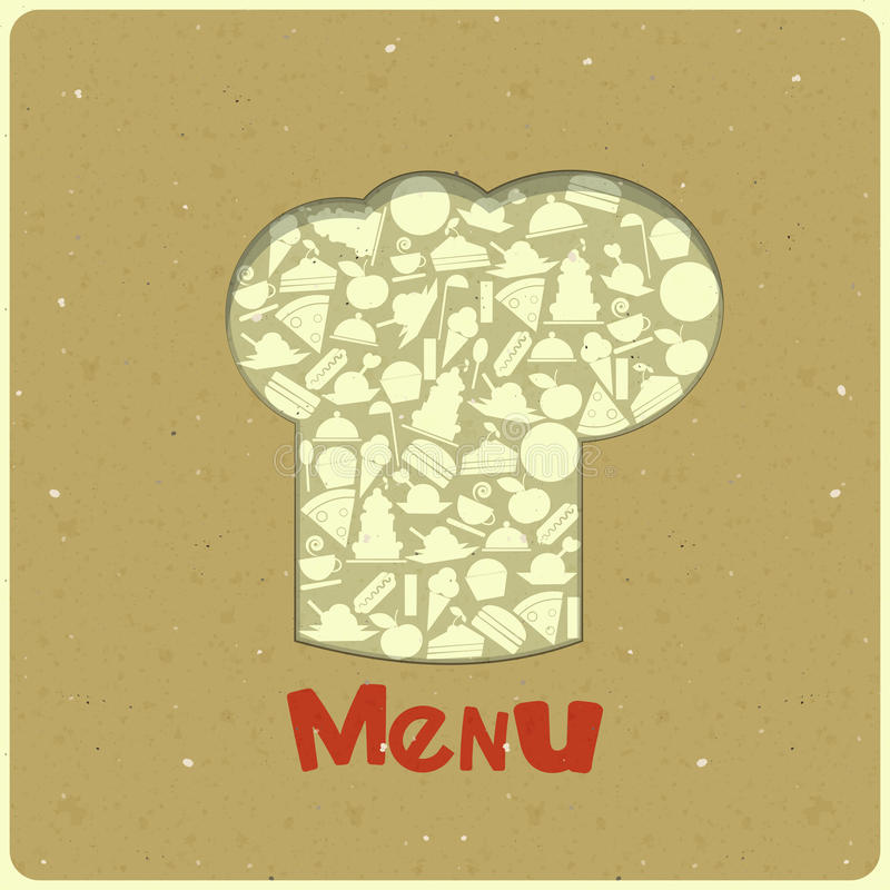 Vintage Menu Card Designs with chefs hat royalty free illustration