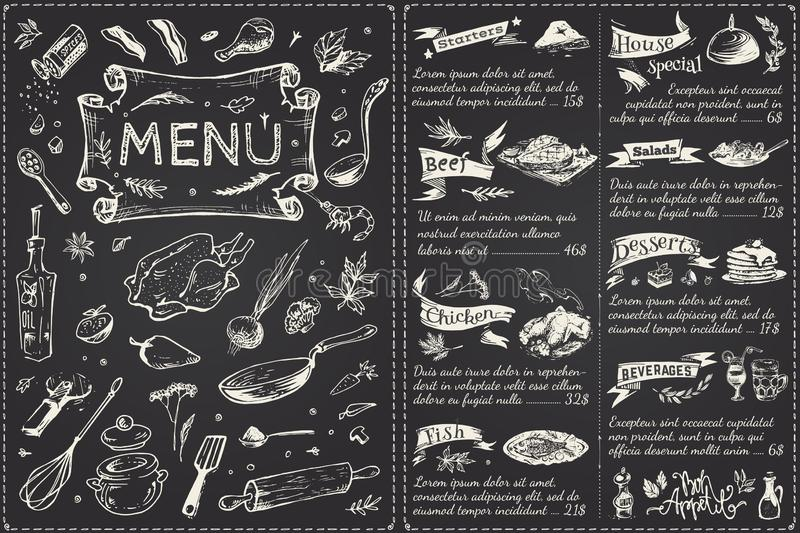 Vintage menu main page design. Hand drawn vector. Vintage menu main page design. Hand drawn food sketches isolated on black chalk board for restaurant or cafe stock illustration