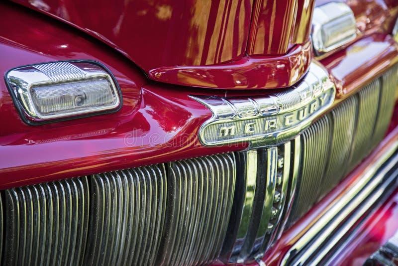 Vintage Mercury chrome grille logo 1946 stock photos