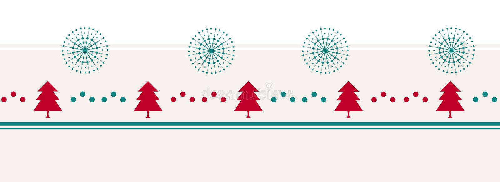 Vintage Merry Christmas background with trees, dots and snowflakes. vector illustration