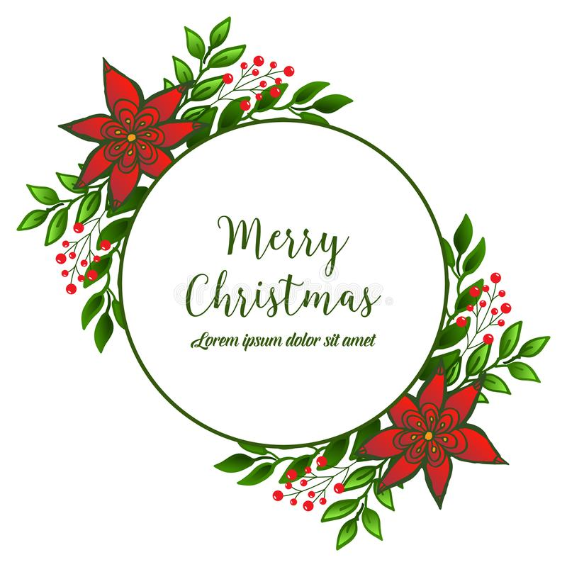 Vintage merry christmas greeting card with elegant red wreath frame. Vector royalty free illustration