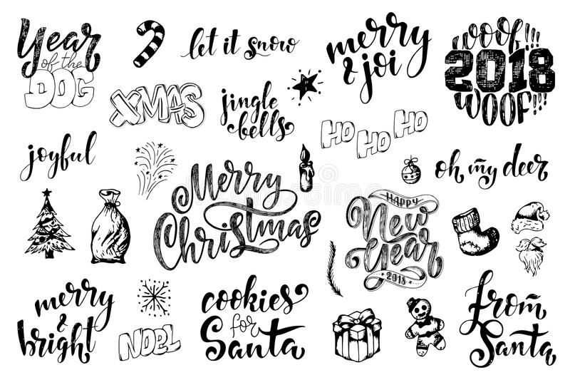 Vintage Merry Christmas And Happy New Year Calligraphic And Typographic Phrases. Hand drawn lettering quote and christmas elements vector illustration