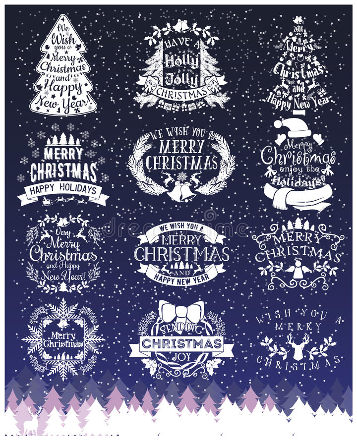 Vintage Merry Christmas And Happy New Year chalk Calligraphic And Typographic signs On Blackboard royalty free illustration