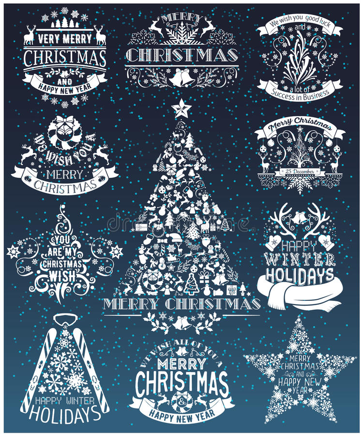 Vintage Merry Christmas And Happy New Year collection of labels vector illustration