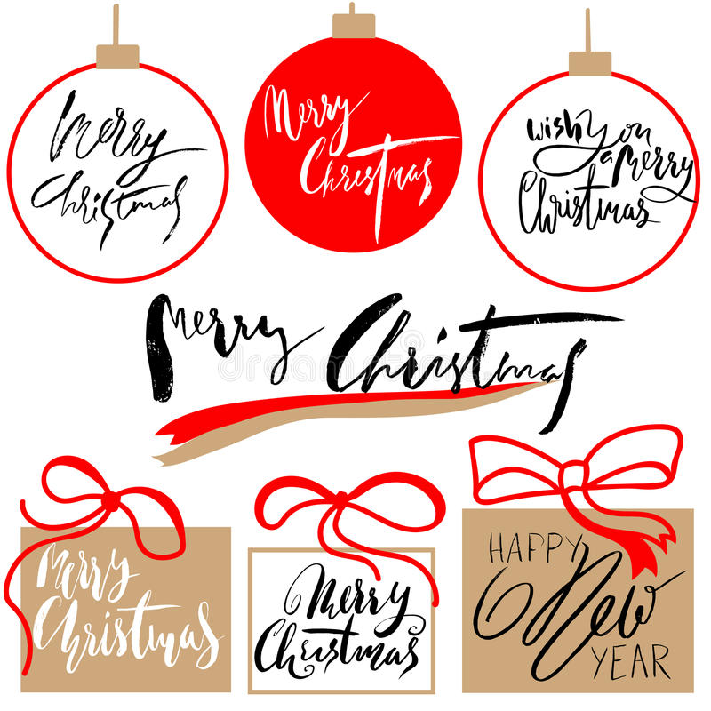 Vintage Merry Christmas And Happy New Year Handdrawn Calligraphic And Typographic labels set. Decorations elements vector illustration