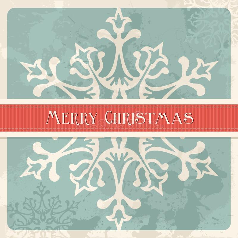 Vintage Merry Christmas snowflake postcard stock photography