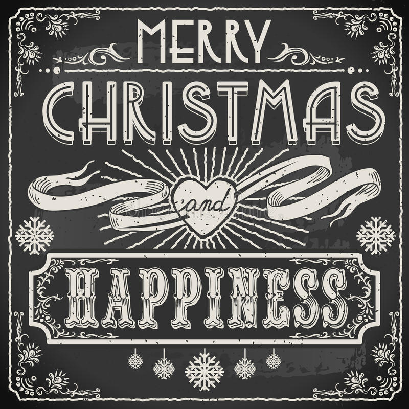 Vintage Merry Christmas Text on a Blackboard. Detailed illustration of a Vintage Merry Christmas Text on a Blackboard This illustration is saved in EPS10 with