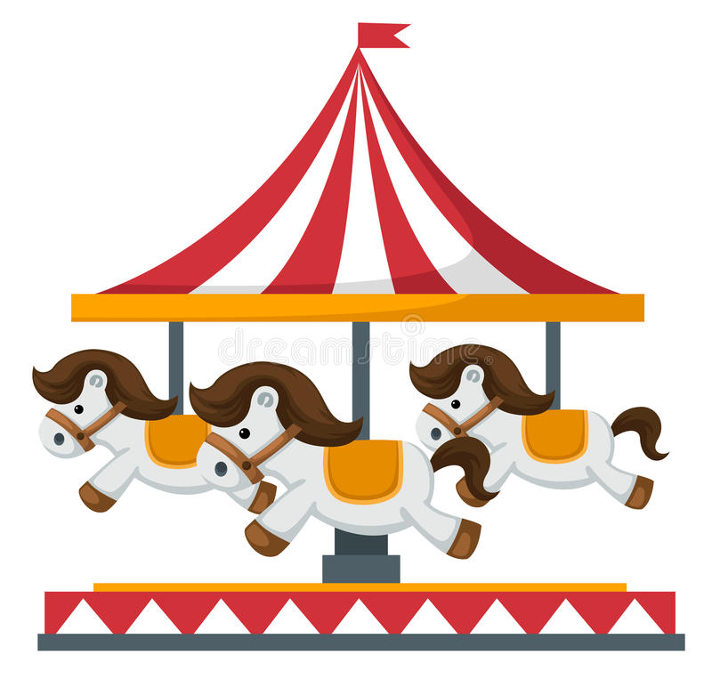 Vintage merry-go-round carousel vector stock illustration